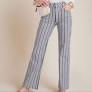 Anthropologie Alena Blue Vertical Striped High Rise Bootcut Pants Size 30